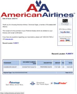 American Airlines Preferred Seat Charge #2