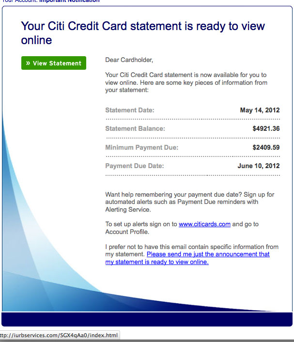 Citi Credit Card Statement is ready