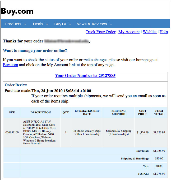 Buy.com - Thanks for Order