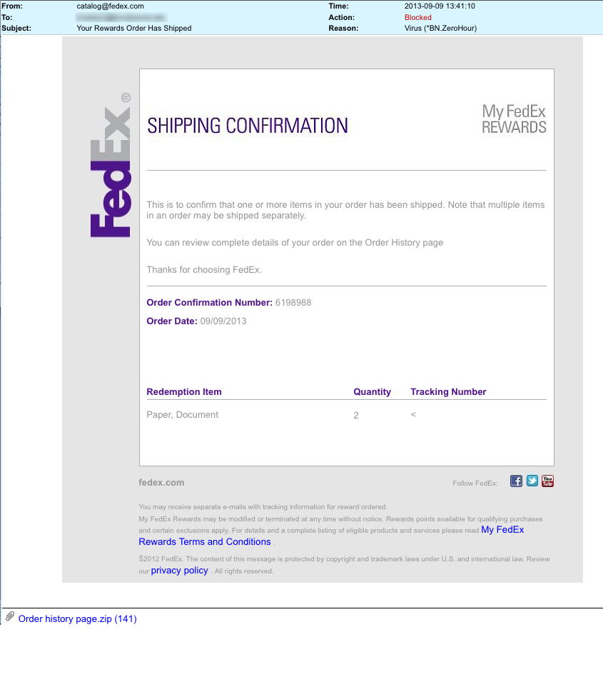 Fedex Shipping Confirmation