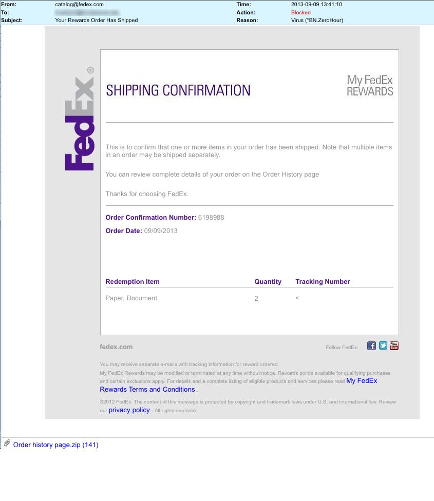 Fedex Shipping Confirmation