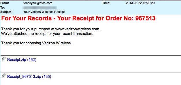 Verizon Wireless-Receipt Attached